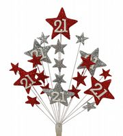 Star age 18th birthday cake topper decoration in red and silver - free postage